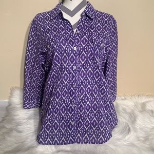 Chicos Size 2 Boho Shirt 3/4 Sleeves Length 28""